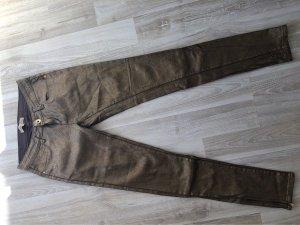 Toxik3 pantalón de cintura baja marrón-color oro