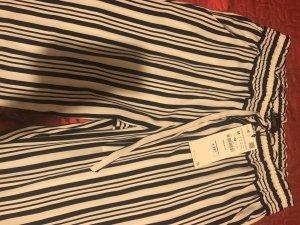 Zara Pantalone a 7/8 bianco-blu scuro