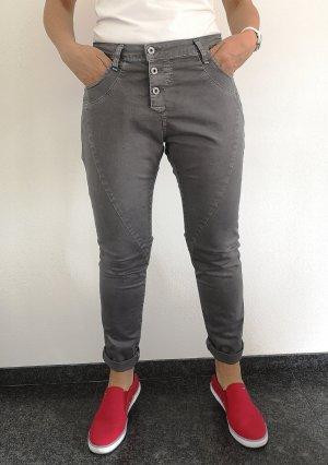 Please Pantalón de pinza alto gris oscuro