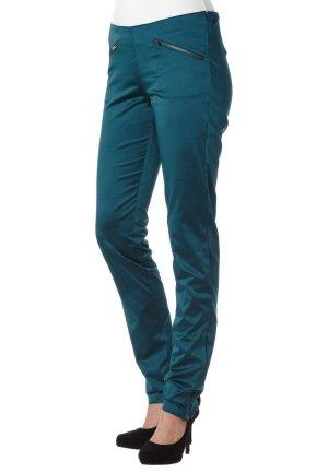 Hose, blau-grün und glänzend von Margit Brandt, Größe S -getragen-