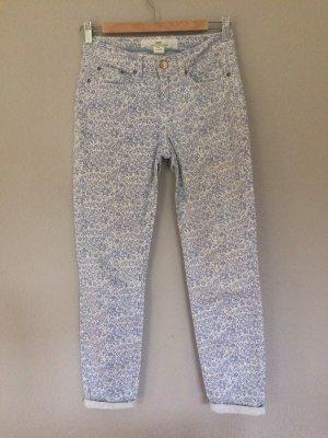 H&M Pantalón tobillero blanco-azul acero