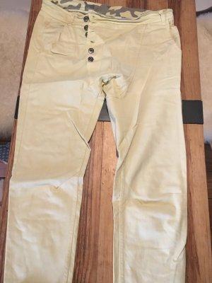 B.yu Italy Pantalone a vita bassa giallo pallido