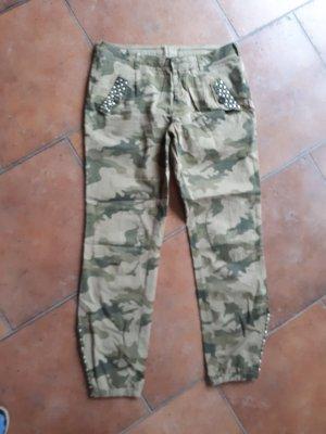Malvin Lage taille broek khaki-olijfgroen