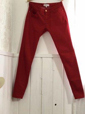Mango Pantalon taille basse rouge