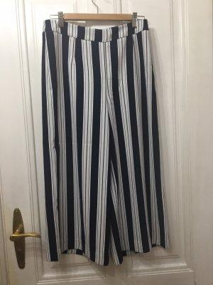 H&M Pantalone culotte bianco-blu scuro