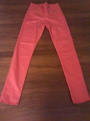 Hose Damen, Größe S/XS, rot-orange, lang, Jeans