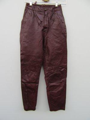 Vintage Pantalon en cuir rouge-bordeau
