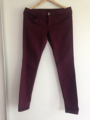 Benetton Trousers brown violet-blackberry-red cotton
