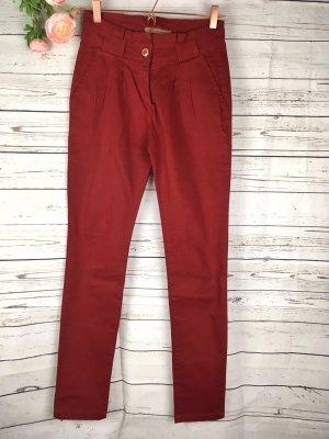 Pantalon à pinces doré-rouge foncé