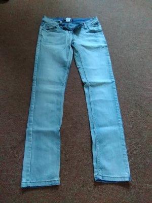 Pantalón de tubo azul acero