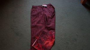 Apart Pantalón de cintura alta marrón oscuro-carmín Algodón
