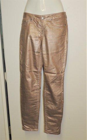 Laura Scott Pantalone cinque tasche oro Tessuto misto