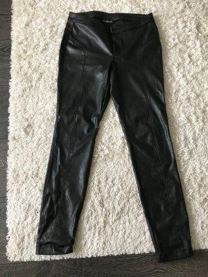 Hose in Lederoptik, schwarz