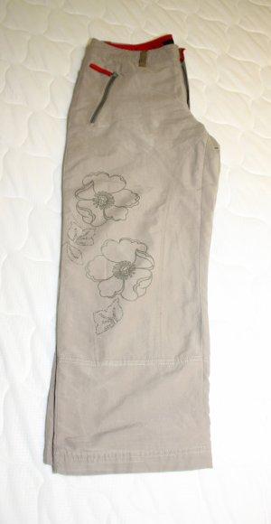 Tchibo / TCM Pantalón tobillero gris verdoso-rojo neón tejido mezclado