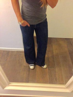 Hose Jeans Schlag Loose Fit Tom Tailor Denim blau lang Schlaghose