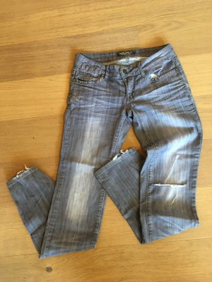 Hose Jeans Straight Denim hell grau Used Look mit Cut Outs Gr. 38