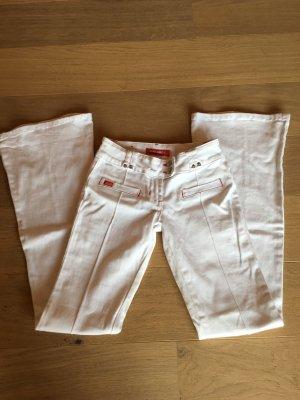 Hose Jeans weiß sexy Bootcut Schlaghose Gr. 25