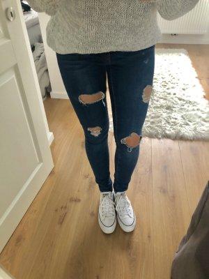 Hose Jeanshose Usedlook blau mit Löchern Röhrenjeans Stretch enganliegend Skinny