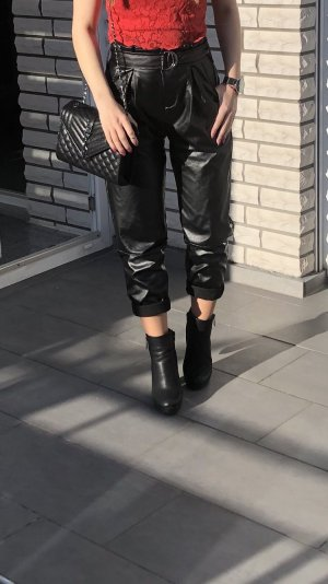 Pantalone in pelle nero-argento