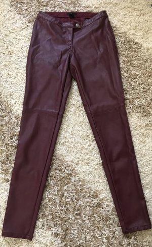 H&M Pantalón de cuero burdeos Imitación de cuero