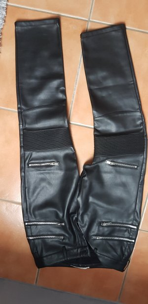 Leather Trousers lime yellow-black imitation leather