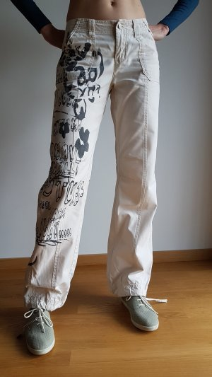 Rainbow Boyfriend Trousers oatmeal-dark grey cotton