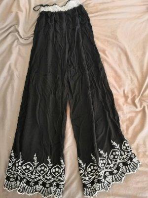 Primark Pantalón de campana blanco-negro