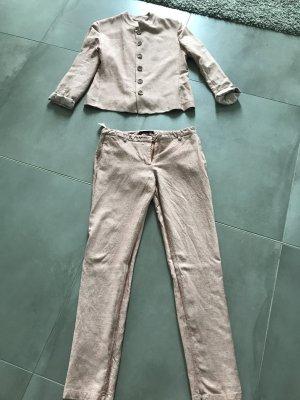 Tailleur rosa antico-bianco Tessuto misto
