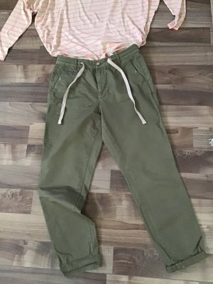 Zara Pantalon chinos gris vert-beige clair coton