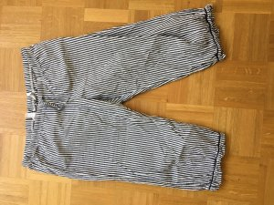 H&M Pantalón de lino blanco-azul celeste