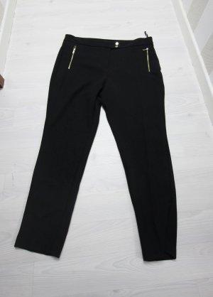 Pantalón de cintura alta negro-color oro