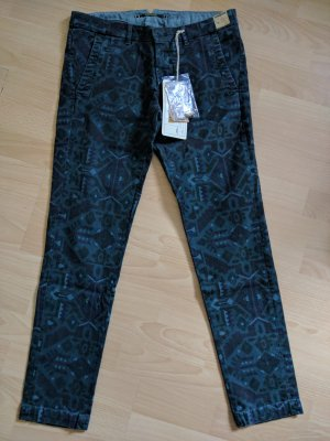 Monocrom Boyfriend Trousers petrol-dark blue cotton