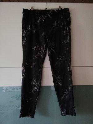 René Lezard Pantalon cigarette noir-crème