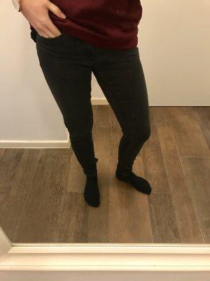 Hose Stretch Röhrenjeans Jeans schwarz Only enganliegend mit Reißverschluss