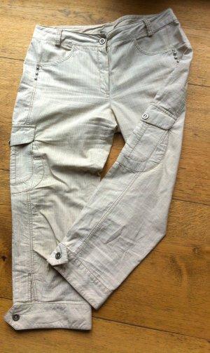 1060 Pantalon 7/8 gris clair-crème coton
