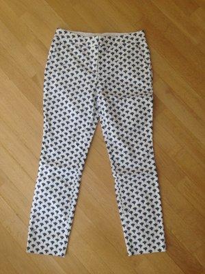 Diane von Furstenberg Pantalone a 7/8 bianco-blu scuro Cotone