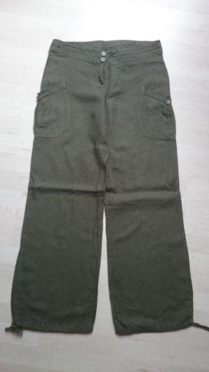 H&M Pantalón de lino verde oscuro Lino