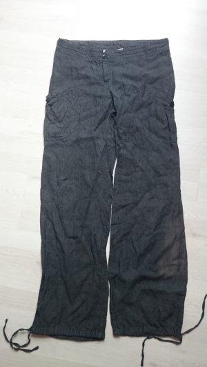 H&M Pantalón de lino negro Lino