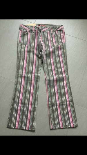 Pantalón de campana caqui-rosa