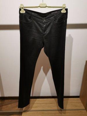 Marc Cain Pantalón de cuero negro Algodón