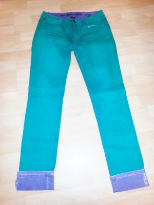 One green elephant Drainpipe Trousers cadet blue-blue violet cotton
