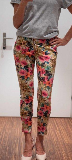 Zara Pantalon 7/8 crème-rouge