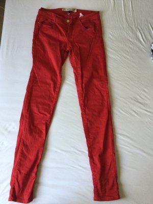 Zara Vaquero slim rojo-rojo ladrillo Algodón