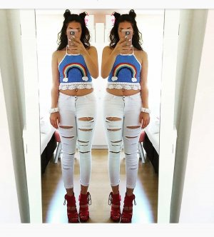 Hose weiß ripped S Jeans destroyed blogger hipster boho hippie