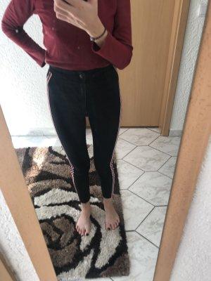 Zara Pantalon taille haute rouge-noir