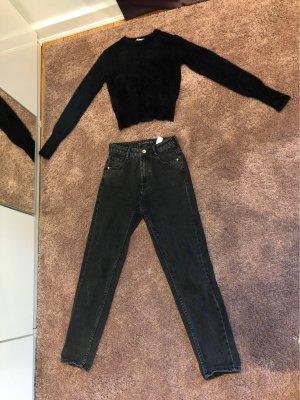 Zara Pantalone boyfriend nero-grigio scuro