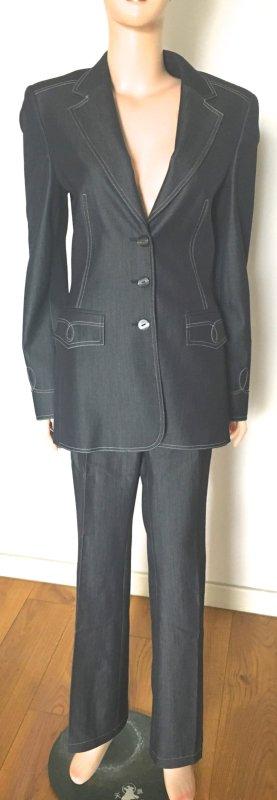 Escada Traje de pantalón gris oscuro-blanco puro lana de esquila