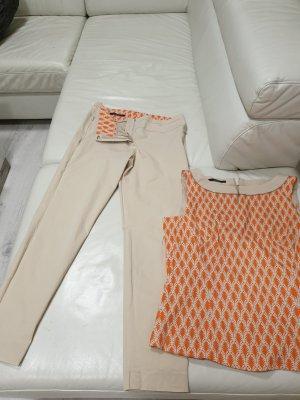 Laurèl Traje de pantalón naranja claro-blanco puro Algodón