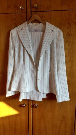 Biaggini Tailleur pantalone bianco-marrone scuro