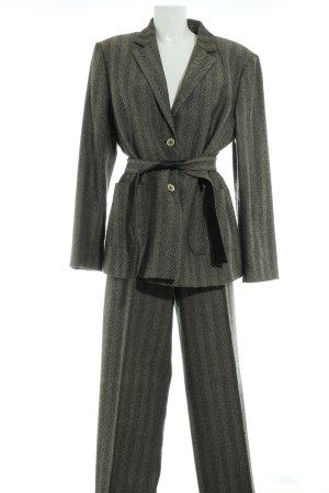 Tailleur-pantalon noir-chameau motif rayé style d'affaires